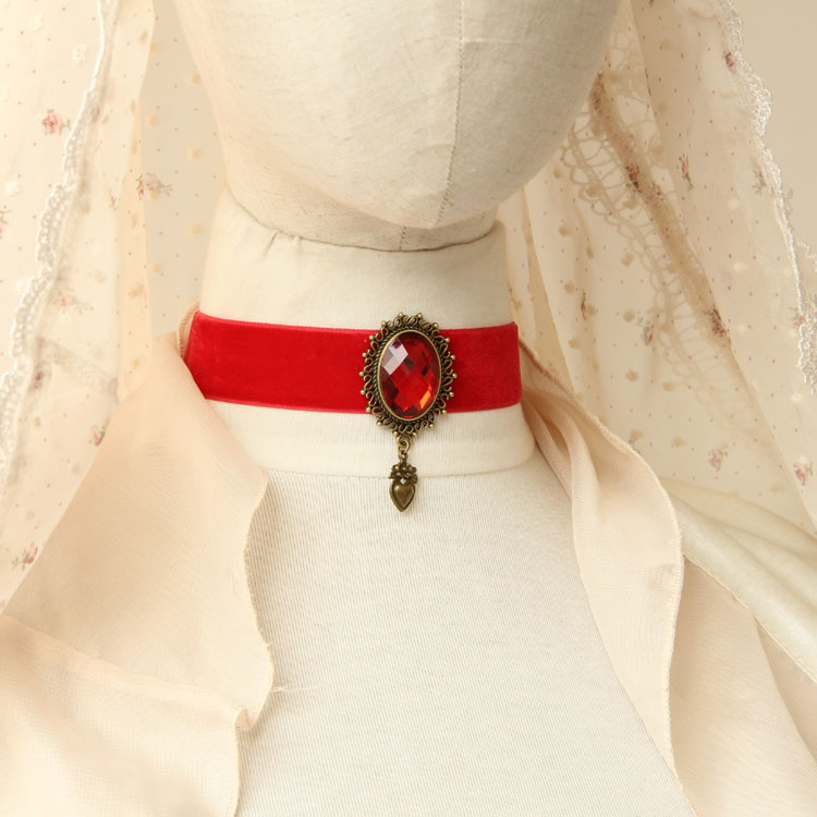 Vintage Elegant Red Velvet Ribbon Choker Necklace Ac0275